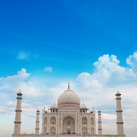 love dome: Front view Taj Mahal in Agra, India on daytime.