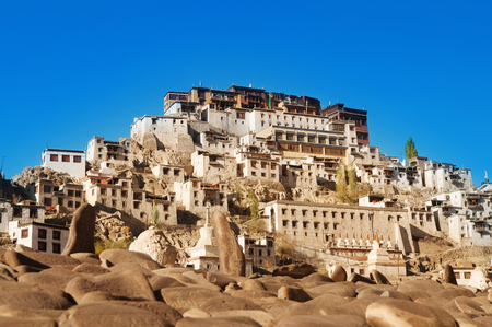 gompa: Buddhist heritage, Thiksey monastery or Gompa temple under blue sky. Leh, Ladakh, India.