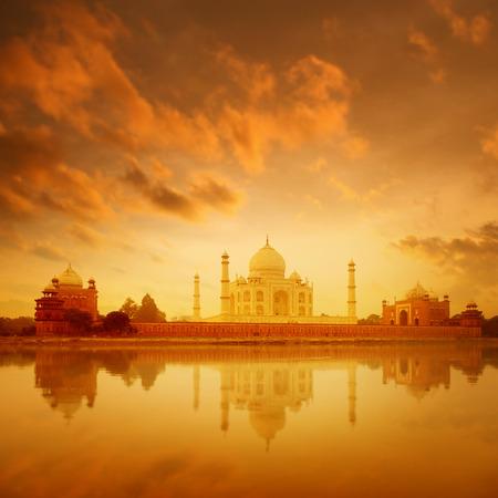 love dome: Taj Mahal in Agra, India on sunrise