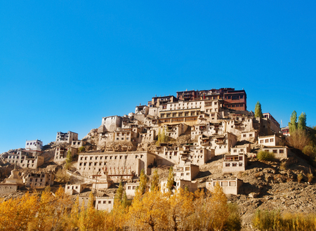 monastery nature: Thiksey Monastery is a Tibetan Buddhist monastery in Leh Ladakh, India.