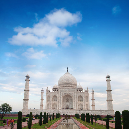 love dome: Front view Taj Mahal in Agra, India with blue sky. Stock Photo