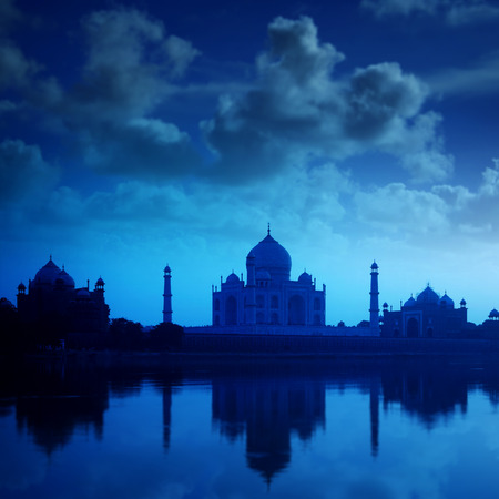 Taj Mahal in Agra, India in night