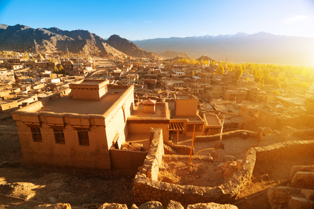 ancient india: Landscape view of Leh city in falls, the town is located in the Indian Himalayas at an altitude of 3500 meters, North India Stock Photo
