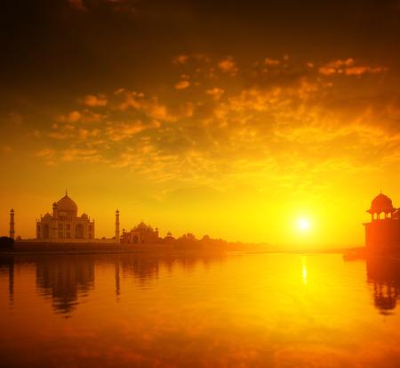 love dome: Taj Mahal in Agra, India in golden sunset.