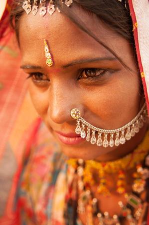 rajasthani: Portrait of traditional Indian Rajasthani woman, India