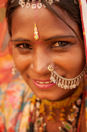 rajasthani: Portrait of traditional Indian Rajasthani woman, India people.