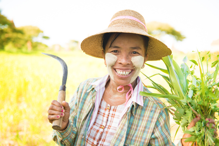 thanaka: Portrait of a happy mature Burmese female farmer with thanaka powdered face who works in the field.