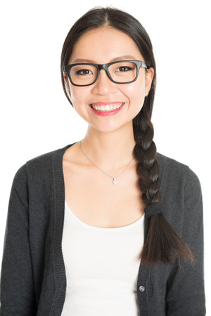 Portrait of young Asian girl with braid hair is smiling, isolated on white background.
