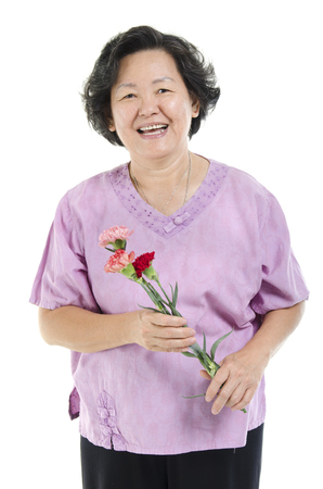 senior adult woman: Happy mothers day concept. Portrait of 60s Asian senior adult woman hand holding carnation flower gift and smiling, isolated on white background.