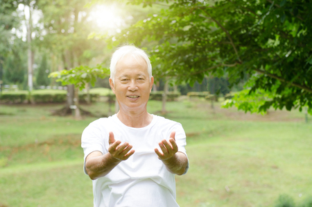 Portrait of fitness white hair Asian senior man practicing tai chi at outdoor park in morning.
