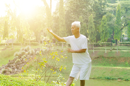 Portrait of healthy grey hair Asian old man practice martial arts at outdoor park in morning.