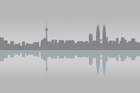 Kuala Lumpur city skyline panorama view illustration graphic in grey toned.