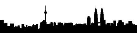 Kuala Lumpur city skyline panorama view graphic in black and white.