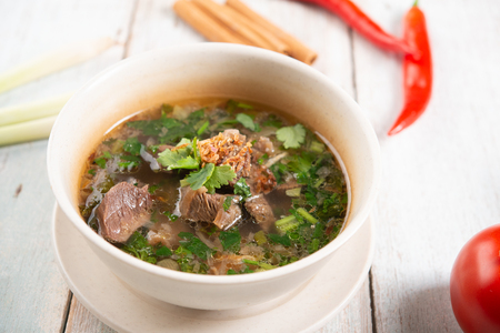Asian bone soup or sup tulang, popular traditional malay dish. Imagens