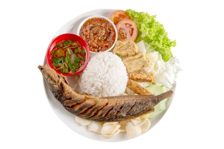 Fried catfish rice with sambal, popular traditional Malay or Indonesian local food. Isolated on white background. Flat lay top down overhead view. Stock Photo