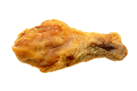 Original recipe fried chicken drumstick, isolated on white background.