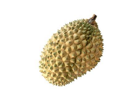 Malesia famoso re di frutta Durian isolato su sfondo bianco. Archivio Fotografico
