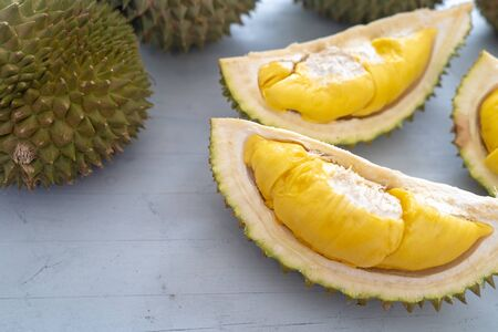 Malaysia famous fruits durian musang king, sweet golden creamy flesh. Standard-Bild - 128375248