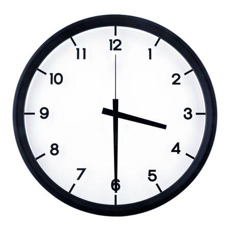 Horloge analogique classique pointant à 8 heures, isolé sur fond blanc Banque d'images