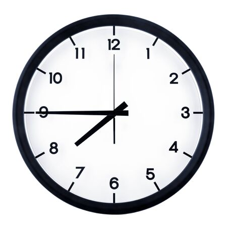Classic analog clock pointing at seven forty five o'clock, isolated on white background.