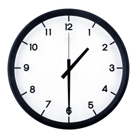 Classic analog clock pointing at 8 o'clock, isolated on white background Banque d'images