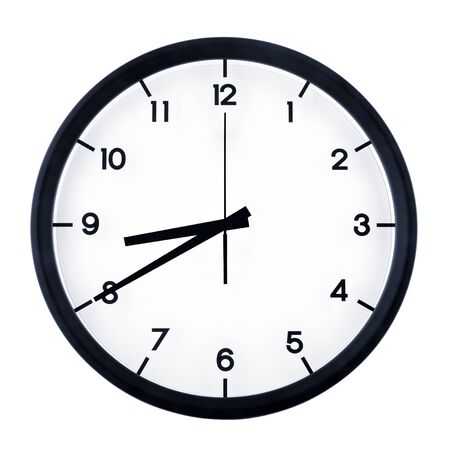 Classic analog clock pointing at eight forty, isolated on white background.