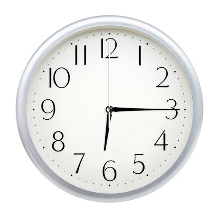 Analog wall clock isolated on white background. Stok Fotoğraf