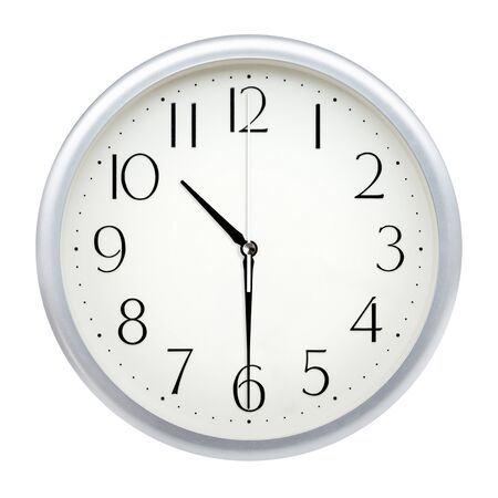 Analog wall clock isolated on white background. Imagens