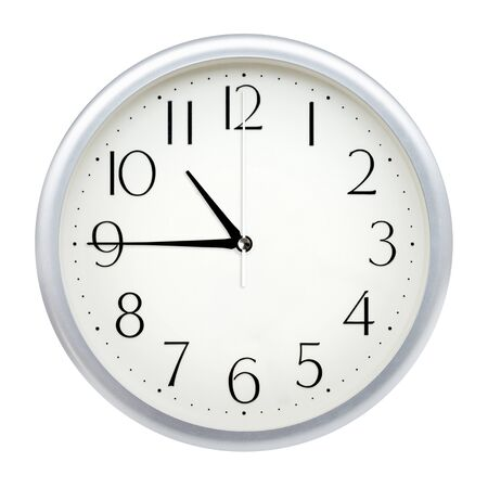 Analog wall clock isolated on white background.