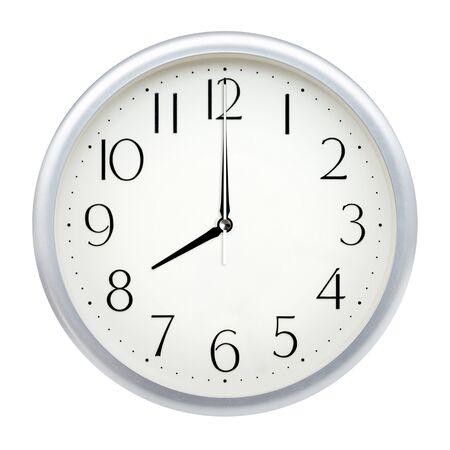 Analog wall clock isolated on white background. 版權商用圖片