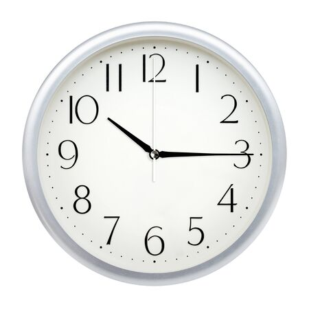 Analog wall clock isolated on white background. Banque d'images