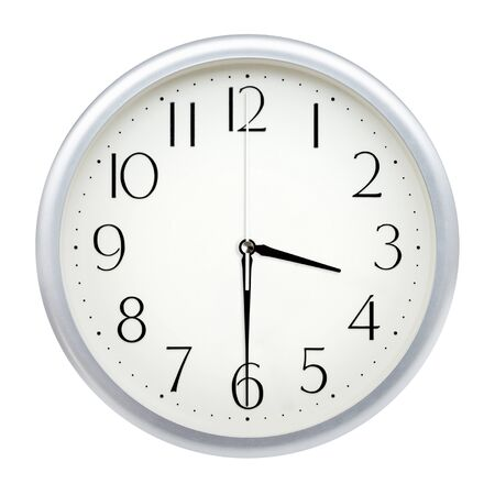 Analog wall clock isolated on white background. 写真素材