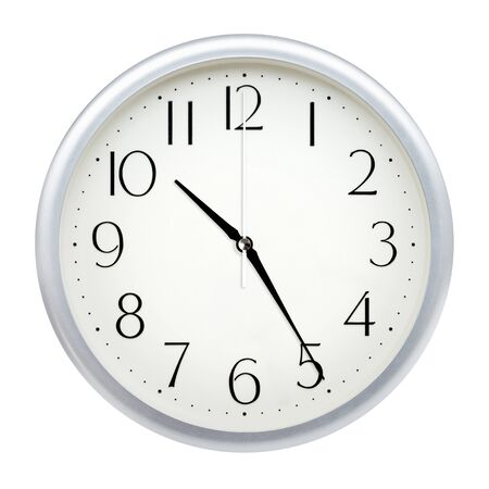 Analog wall clock isolated on white background. Stock Photo