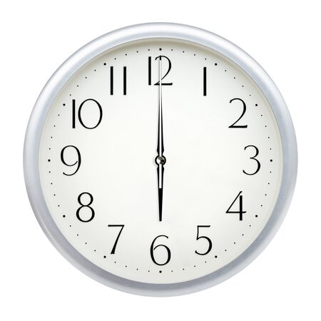 Analog wall clock isolated on white background. 免版税图像