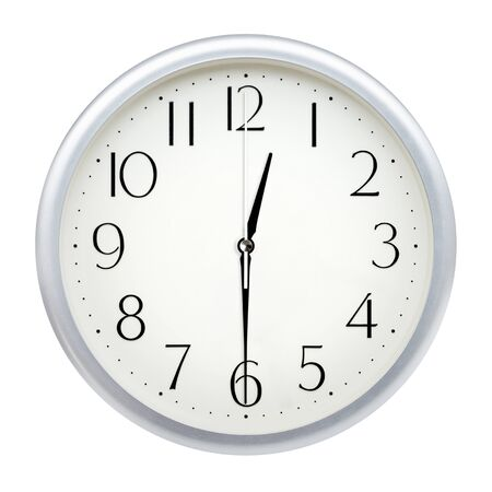Analog wall clock isolated on white background. Standard-Bild