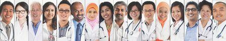 Différents visages de médecins, de médecins et d'infirmières. Banque d'images