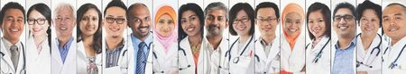 Different faces of medical people, doctor and nurse. Stock fotó