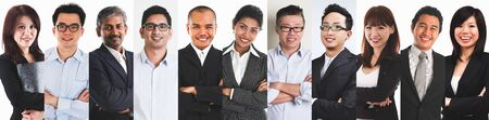 Collage portraits of diverse Asian people and mixed age group of focused business professionals. Imagens