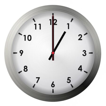 Analog metal wall clock isolated on white background. Banque d'images
