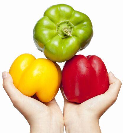 sweet peppers: Three juicy, ripe peppers.