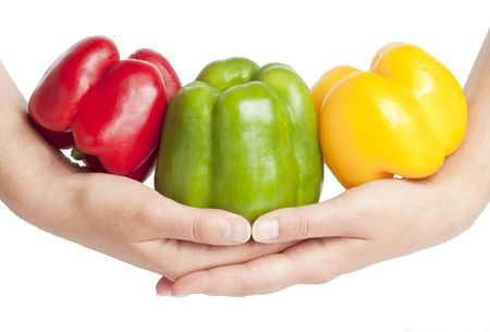 Peppers on hands