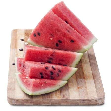 royalty free: Juicy slices of ripe watermelon isolated on white background