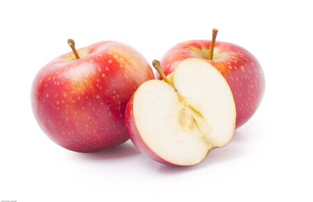 two and a half: Two and half apples Stock Photo