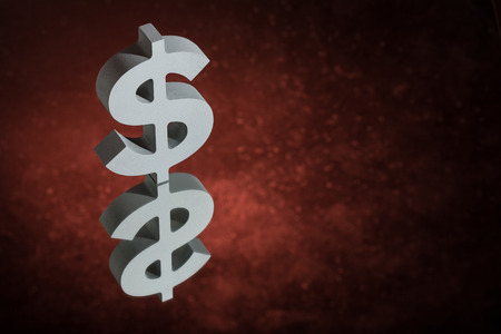 American Currency Symbol or Sign Dollar With Mirror Reflection on Red Dusty Background