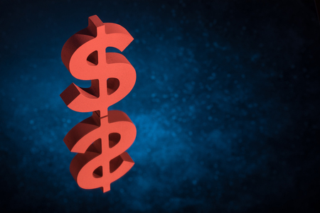 Red American Currency Symbol or Sign Dollar With Mirror Reflection on Blue Dusty Background