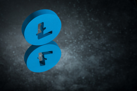 Blue Litecoin Currency Symbol or Sign With Mirror Reflection on Dark Dusty Background