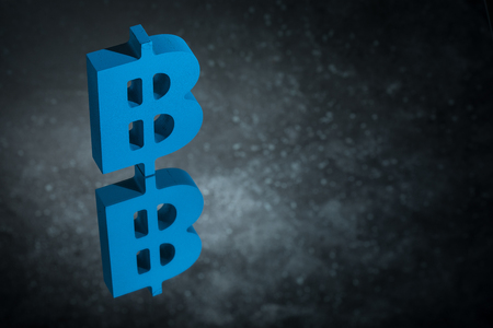 Blue Bitcoin Currency Symbol or Sign With Mirror Reflection on Dark Dusty Background