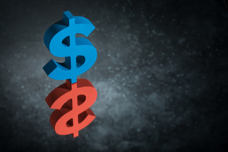 Red and Blue American Currency Symbol or Sign Dollar With Mirror Reflection on Dark Dusty Background Stock Photo