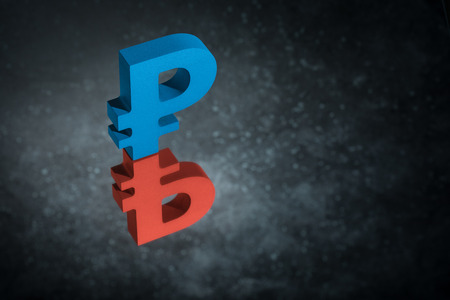 Red and Blue Russian Currency Symbol or Sign Ruble With Mirror Reflection on Dark Dusty Background