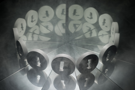 Litecoin Crypto Currency Symbol on Mirror Covered In Smoke With many Reflections of Itself
